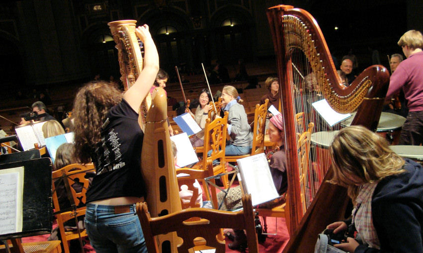 Hinter den Harfen